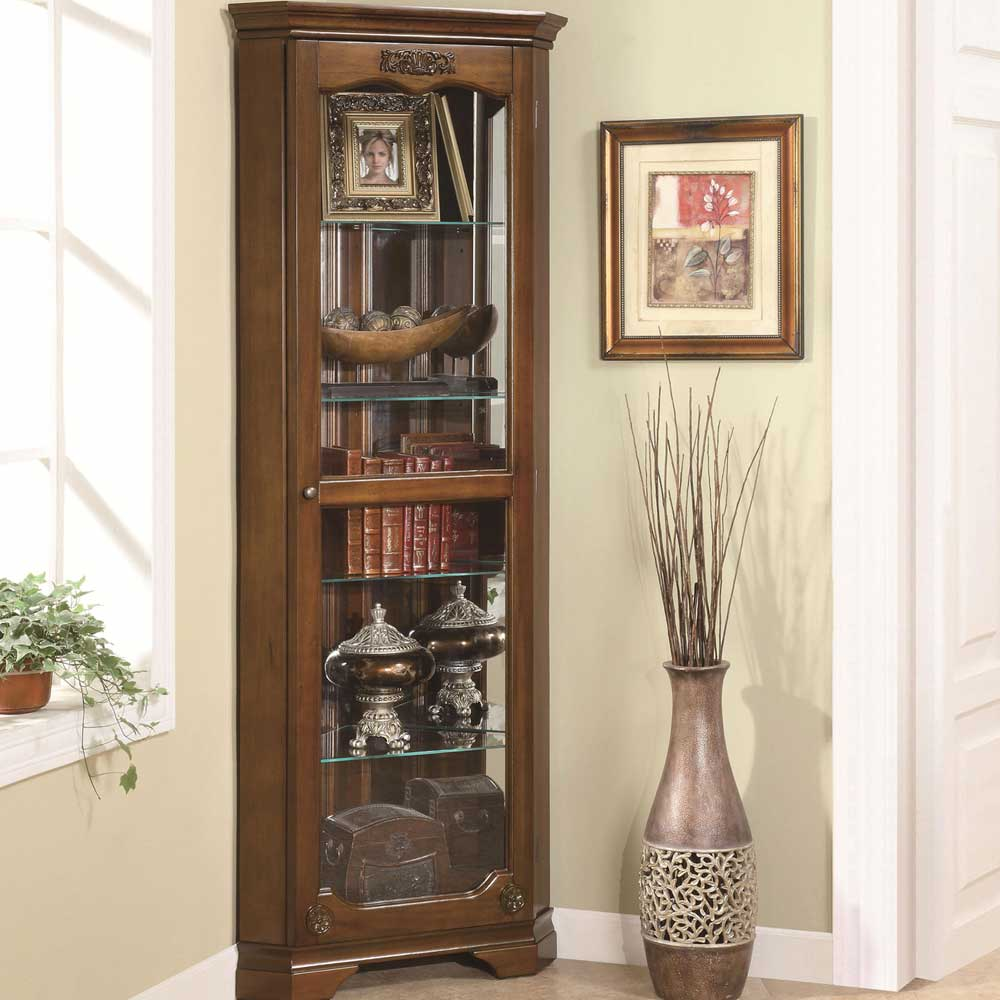 Traditional brown glass corner Curio Cabinet