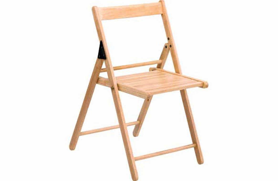 Unfinished folding wooden chair unit