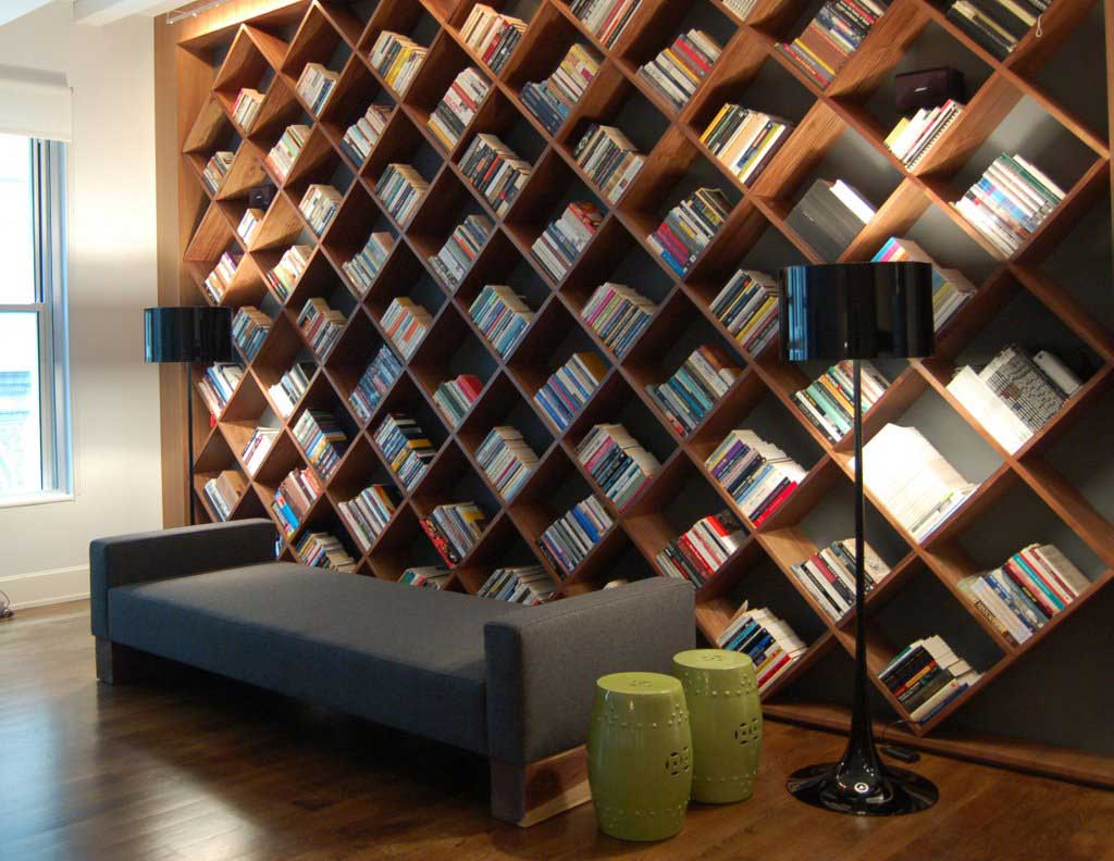 Unique big wooden bookcases in Los Angeles