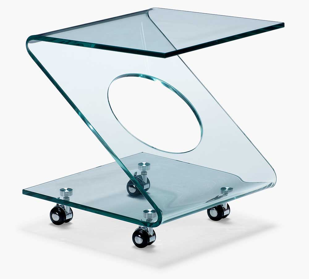 Z-style glass rolling table cart