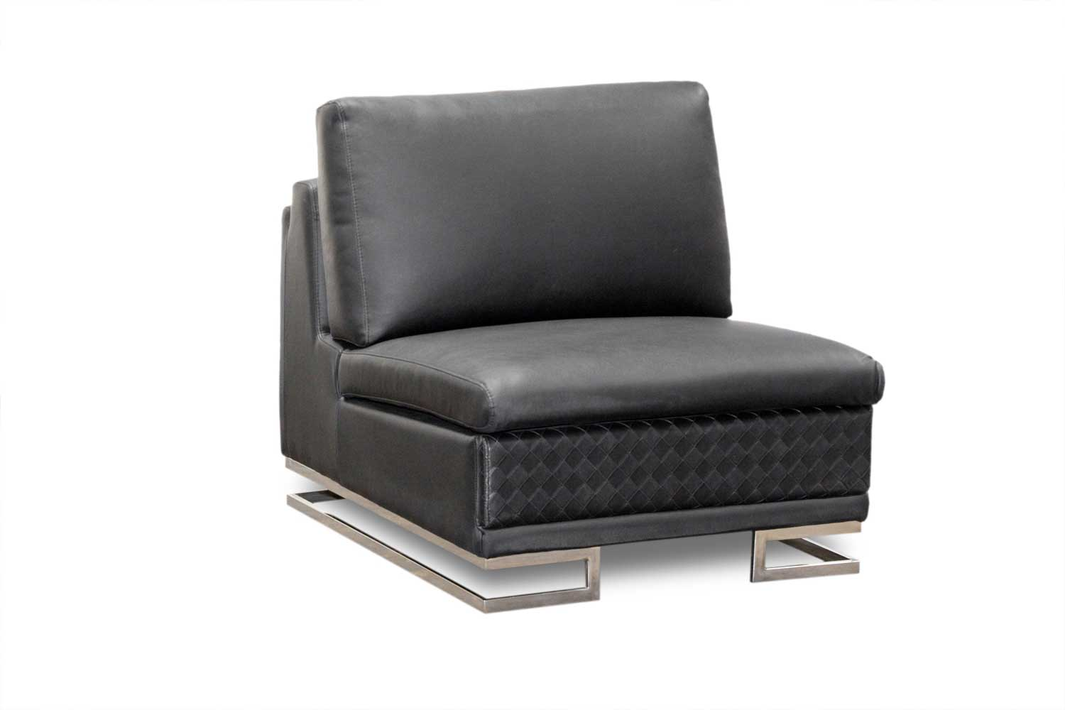 black armless leather chair in metal legs