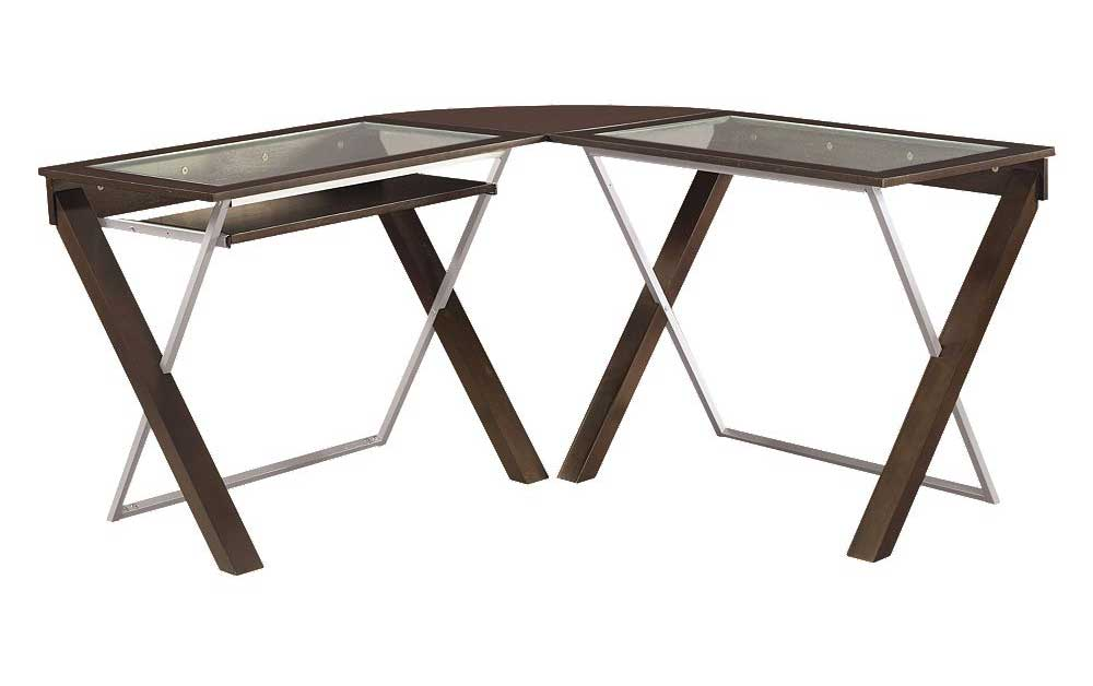 contemporary glass computer L shaped tables