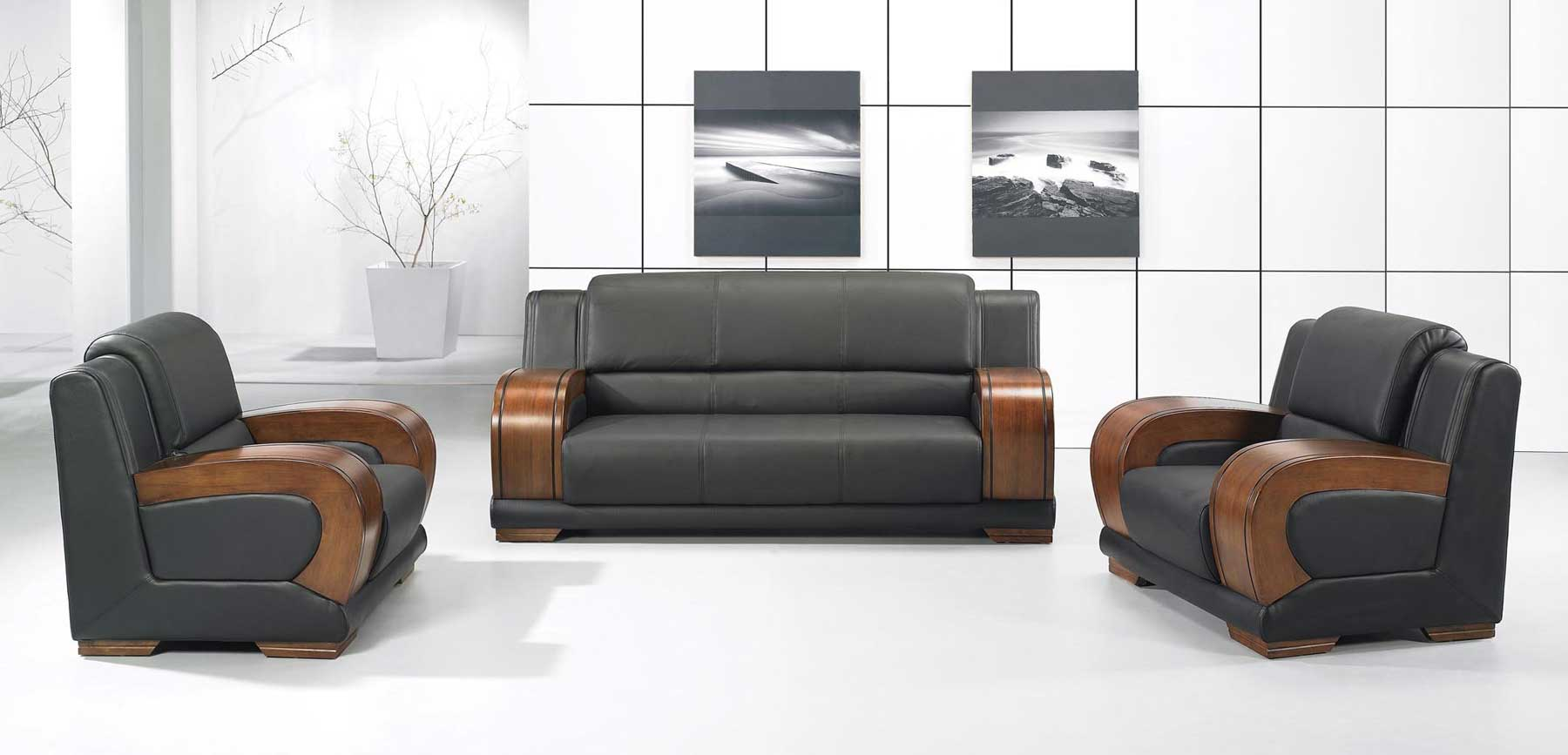 modern office sofa with wooden arms design