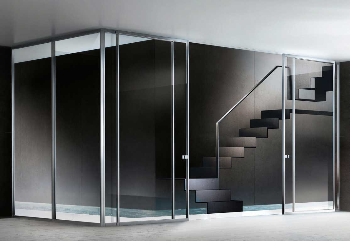 movable glass walls residential with door
