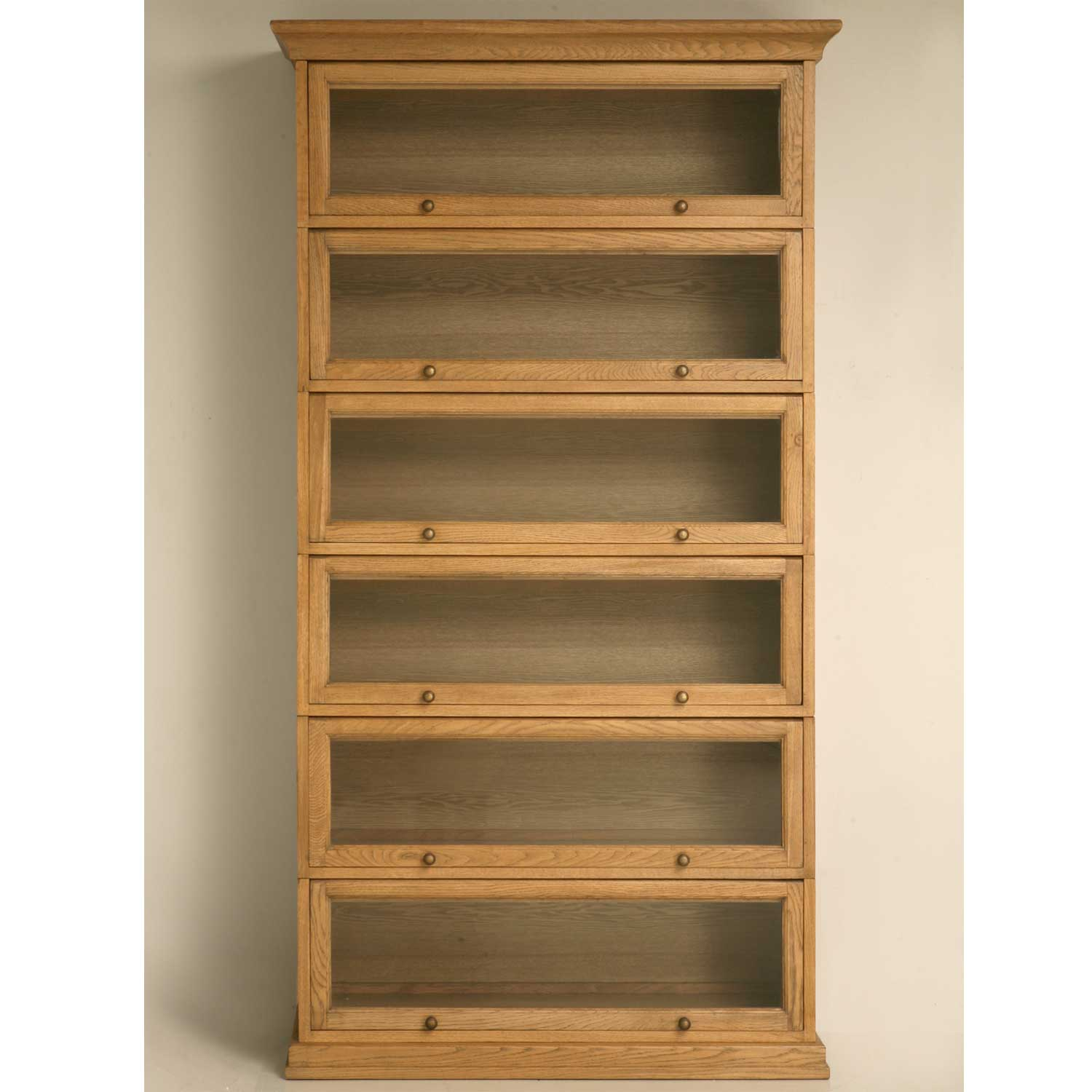 6 shelves oak barrister bookcase with lift-up door