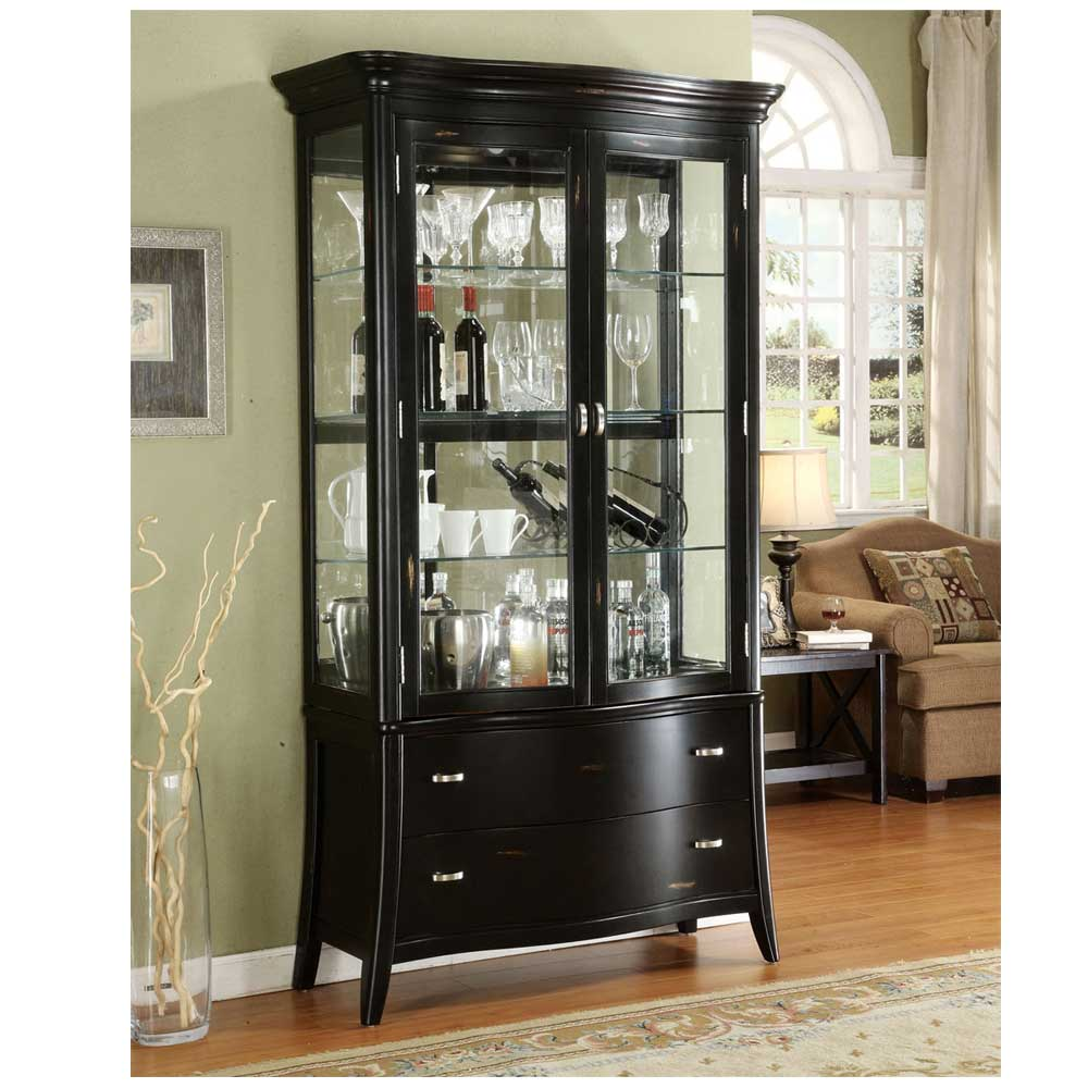 Antique black curio cabinet display