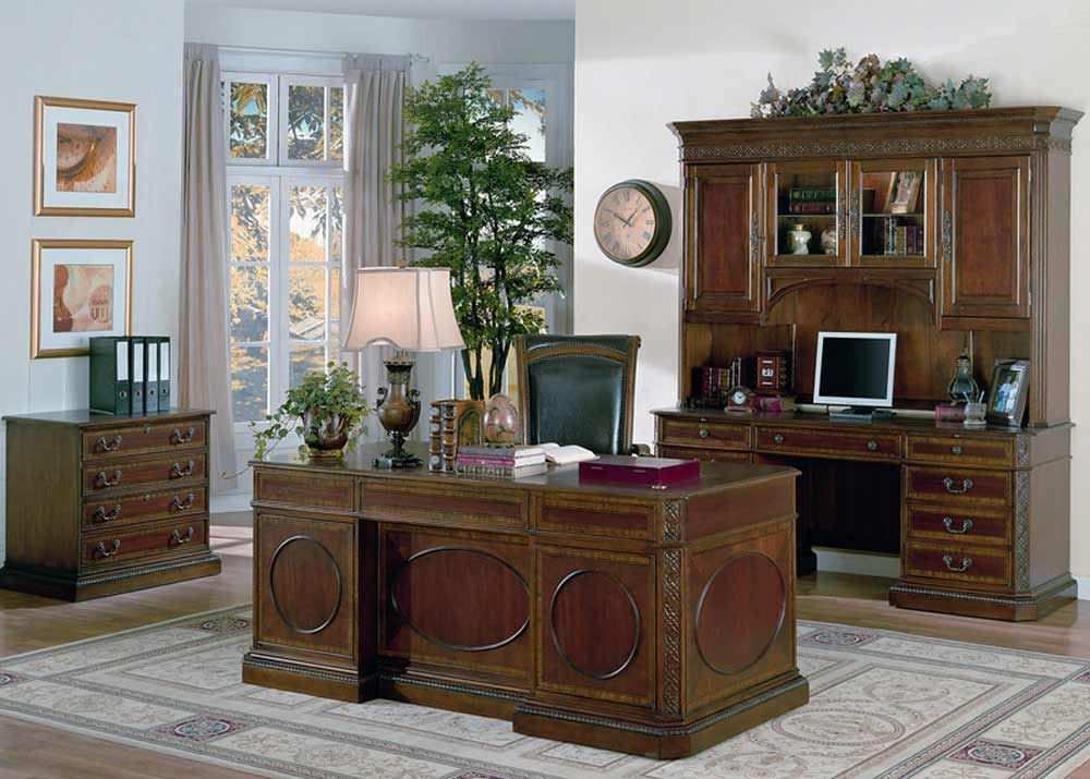 Bayview classic home office mahogany desk with hutches