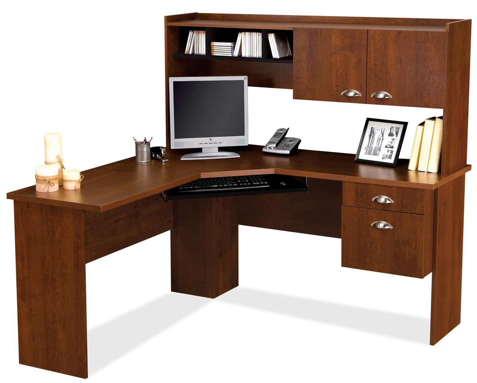 Bestar Delta Tuscany Brown L-Shaped Computer Desk