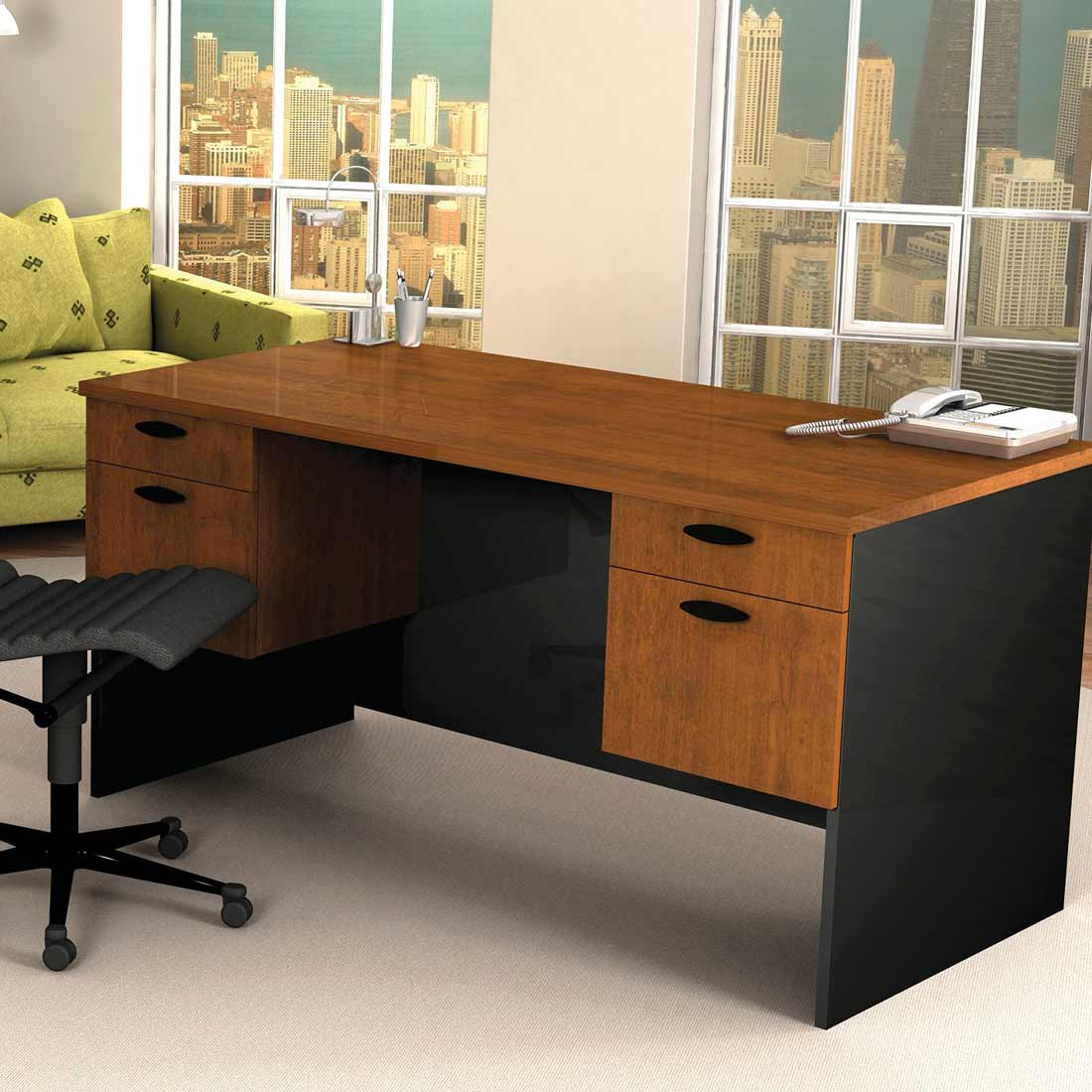 Bestar Hampton cheap executive desks in dark brown tuscany