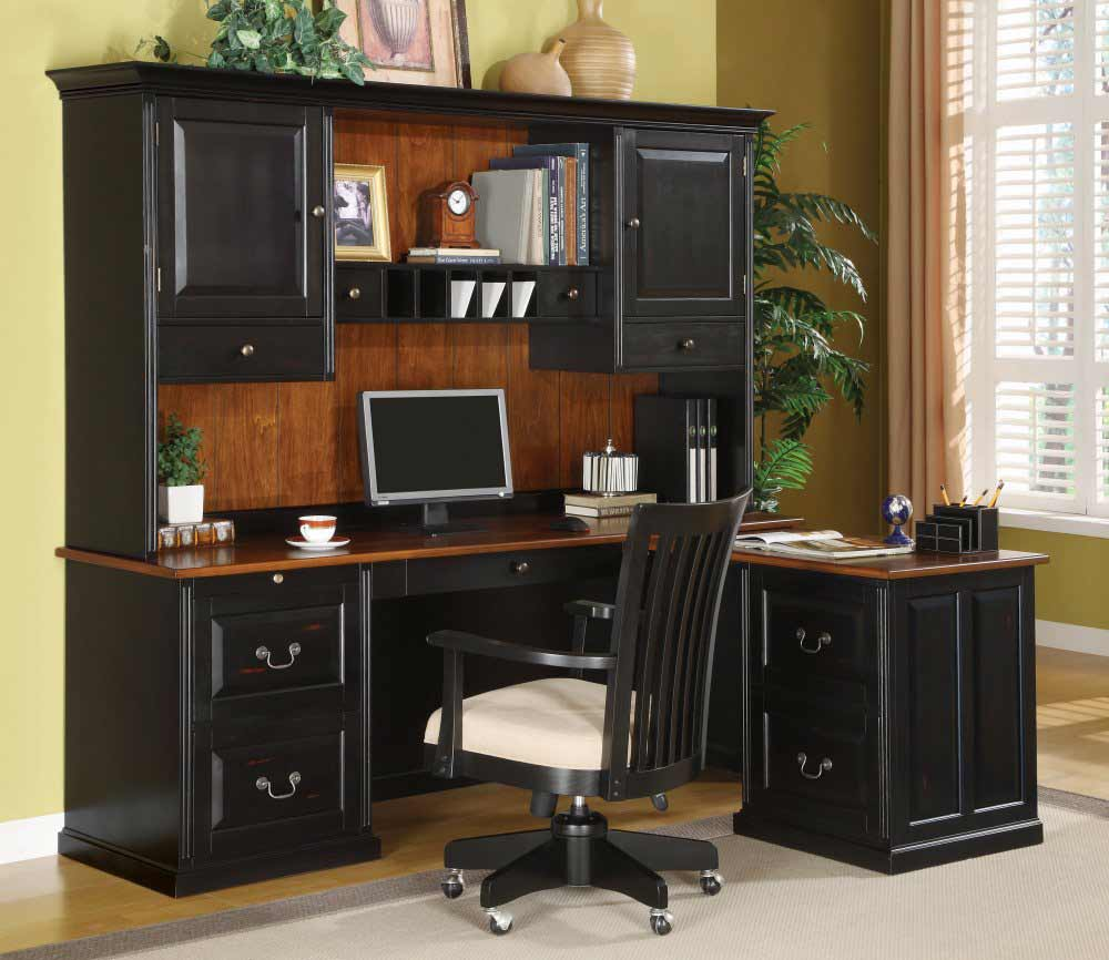 Black Bush L-Shaped Computer Desk with Hutch