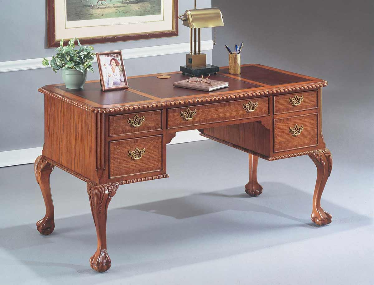 Classic oak writing desk with space saver design