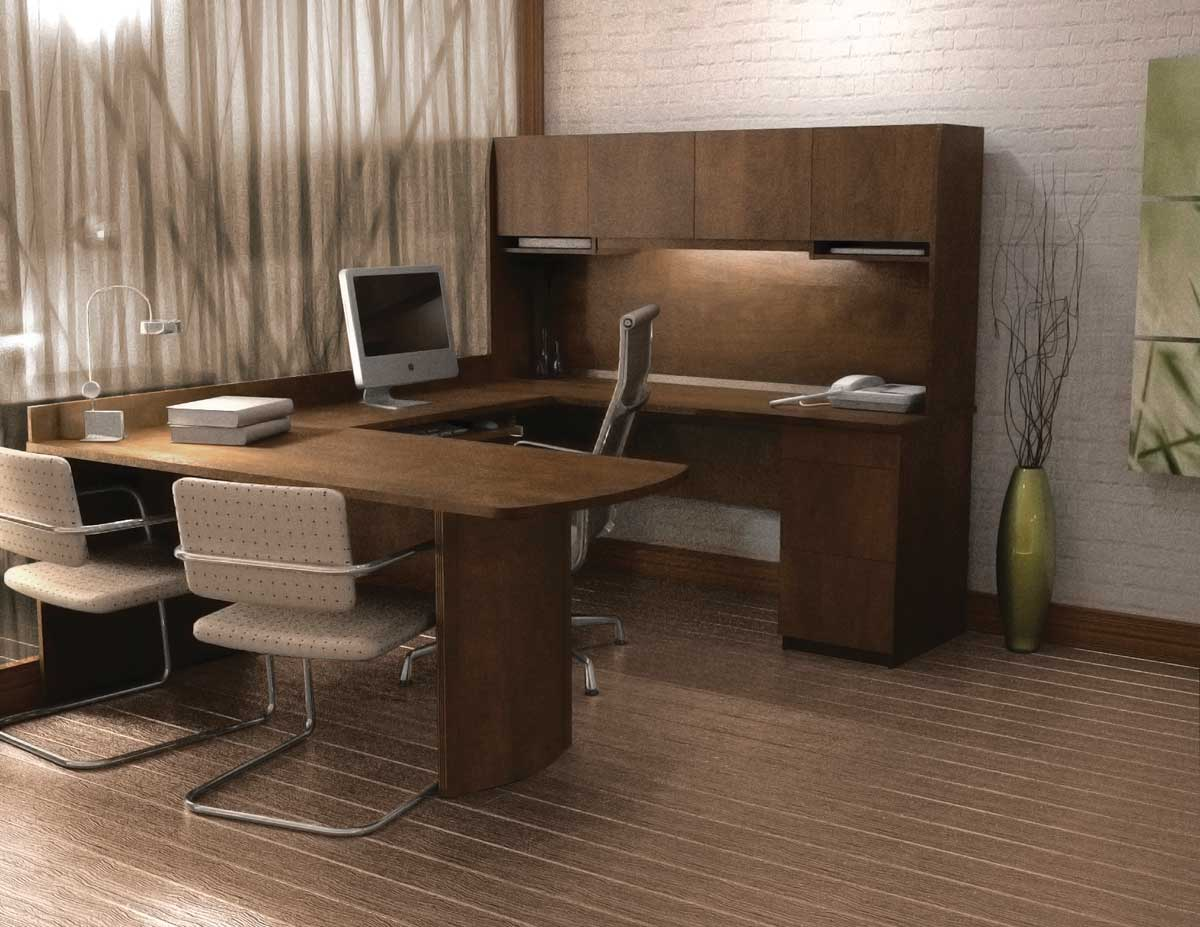 Contemporary U-Shaped Computer Desk and Chair Collection