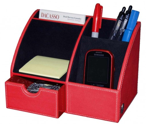 Dacasso Contemporary Small Organizer and Letter Tray in Red