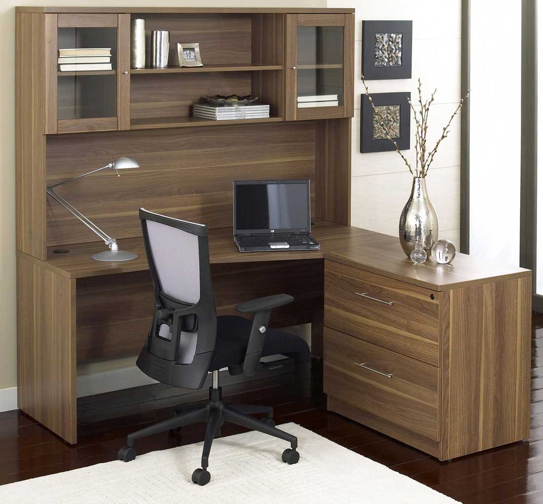 Ergo Office L-Shaped Computer Workstation with Hutch