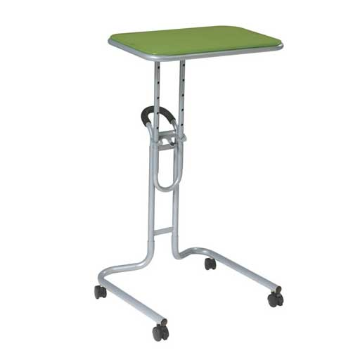 Green padded aluminum laptop reading cart