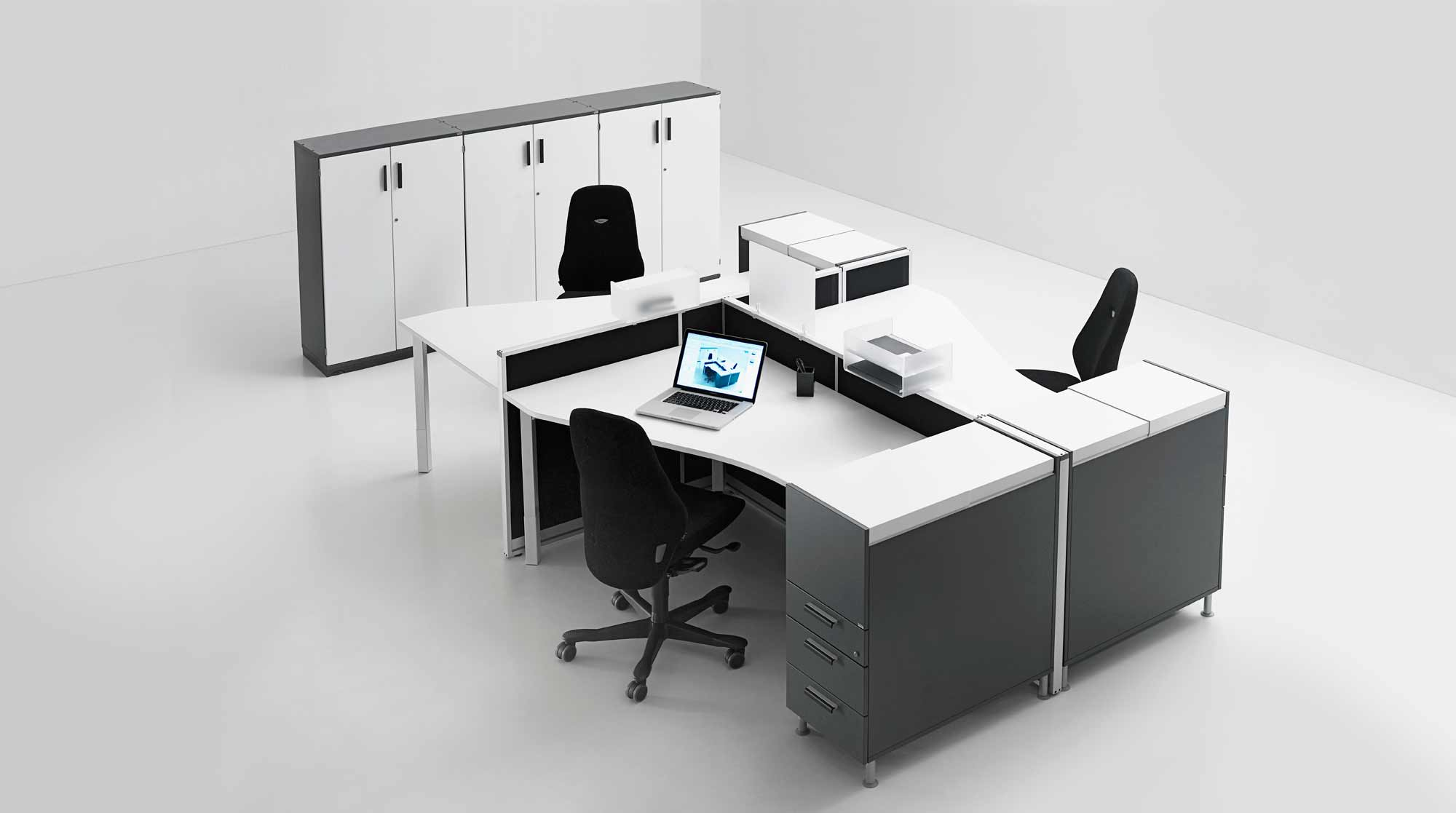 Grey white office workstation in stylish design