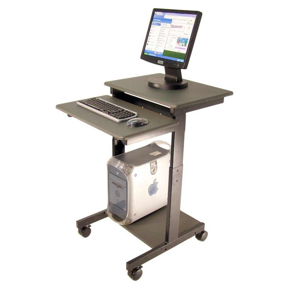 Mobile Computer Cart with Adjustable Height Legs