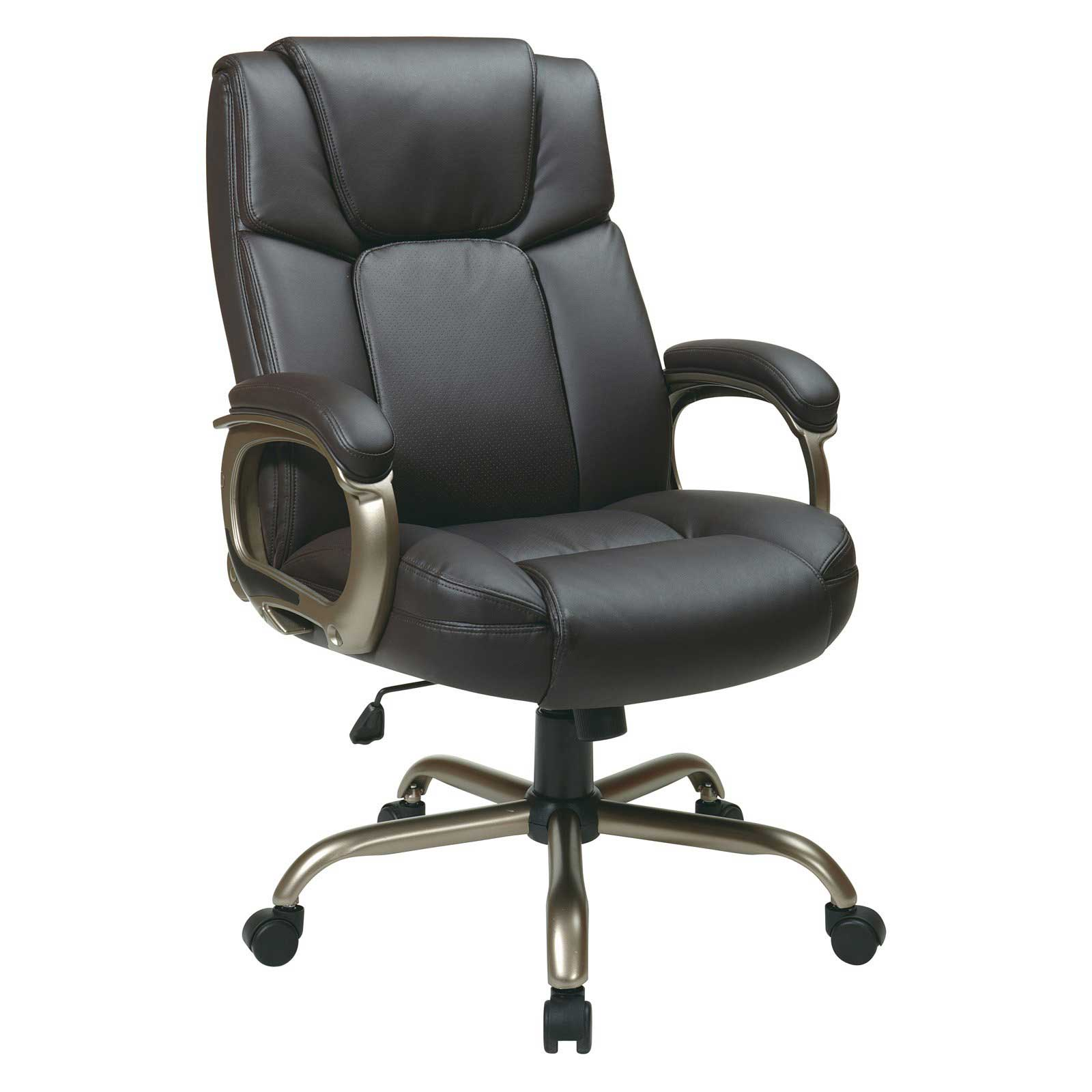 Office Star Big Mans Office Chair in Espresso Leather