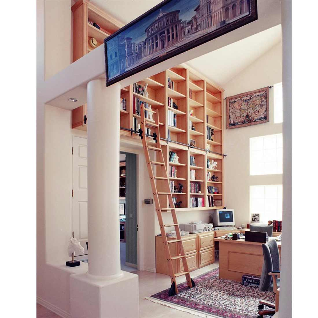 Office Wooden Library Rolling Ladder