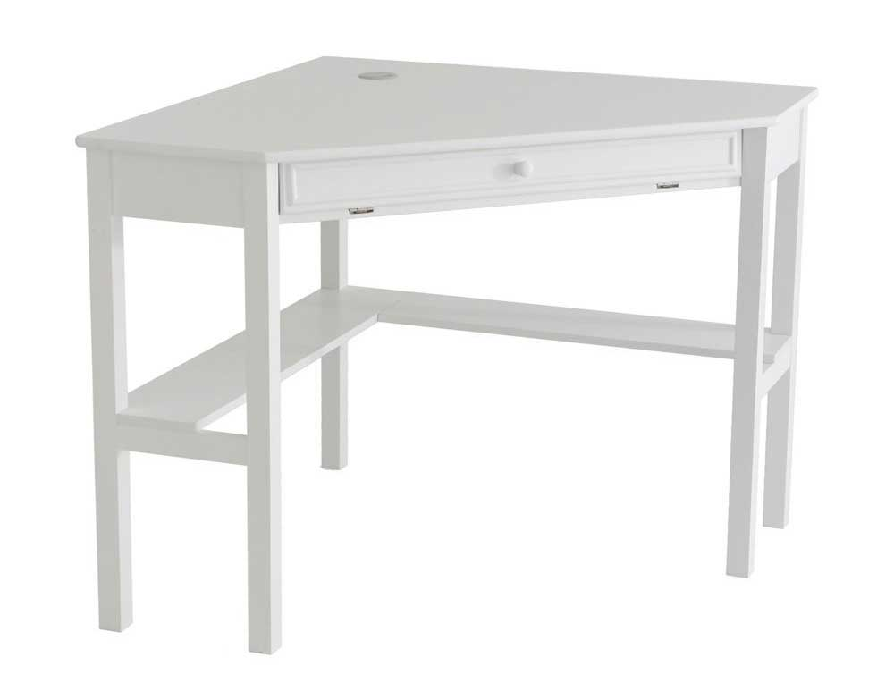 SEI white wood corner desks with single drawer