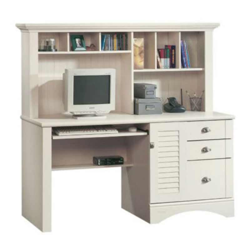 Sauder Harbor View White Compact Computer Armoire with Hutch