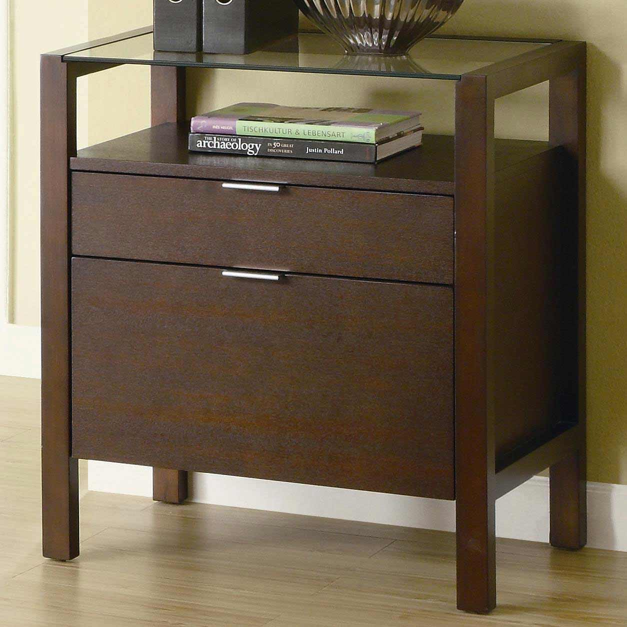Skillman glass top contemporary file cabinets