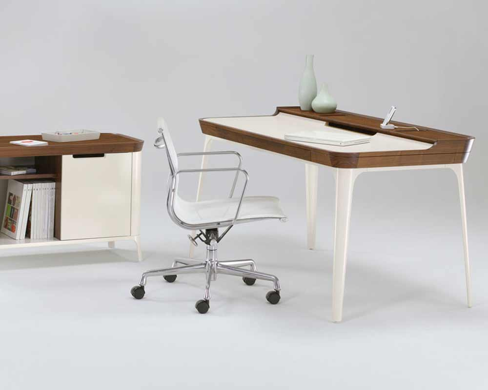 Stylish office writing desk with unique steel legs