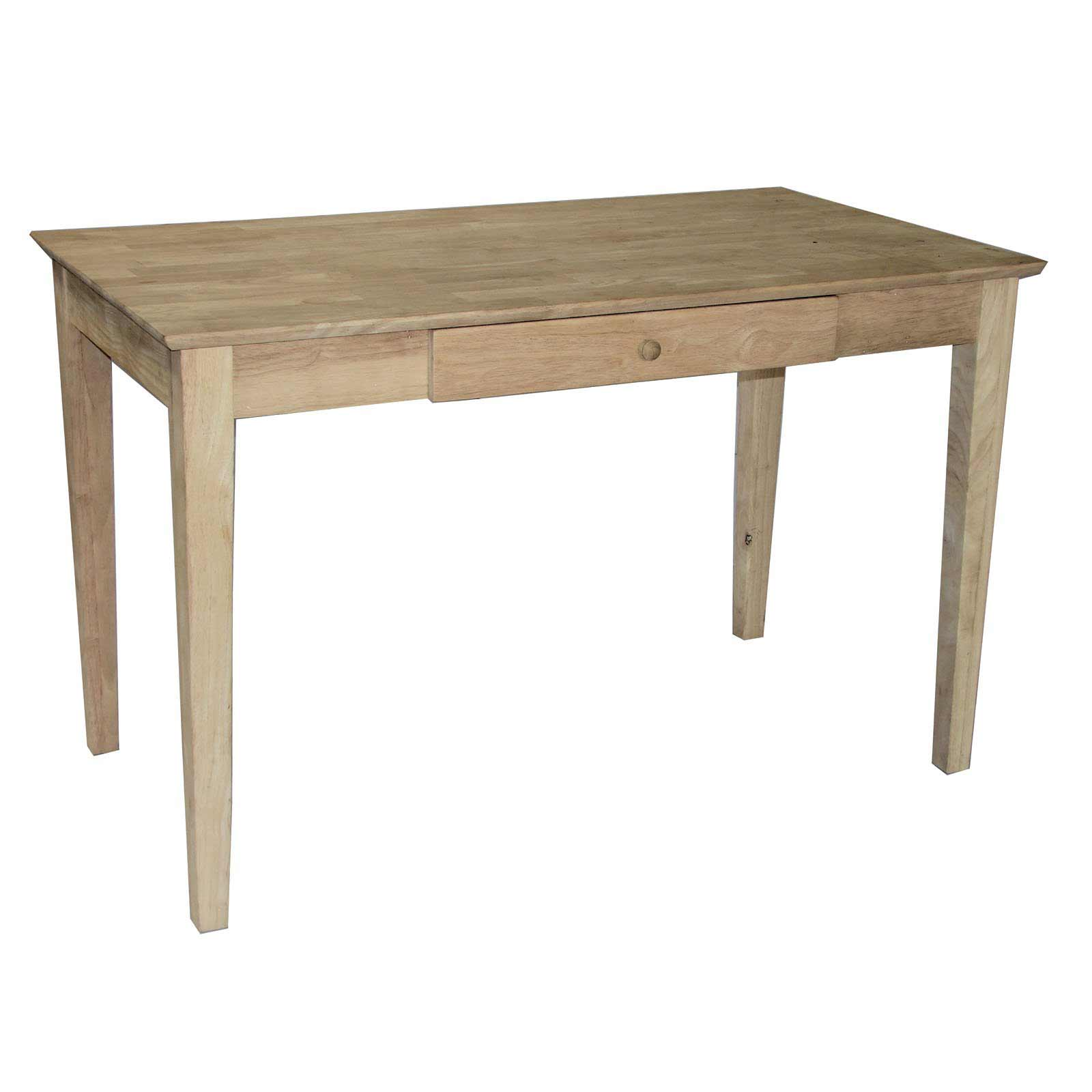 Unfinished Solid Wood Writing Desk With One Drawer