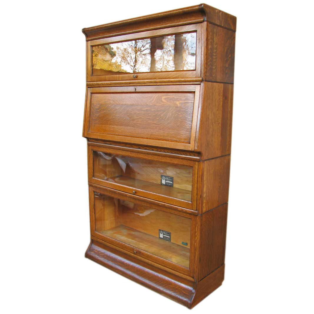 Viking Solid Wood Barrister Bookcase with 4 Section