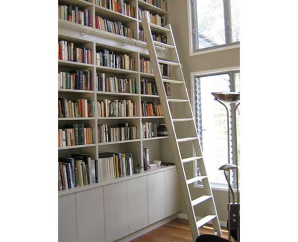 White Rolling Library Access Ladder