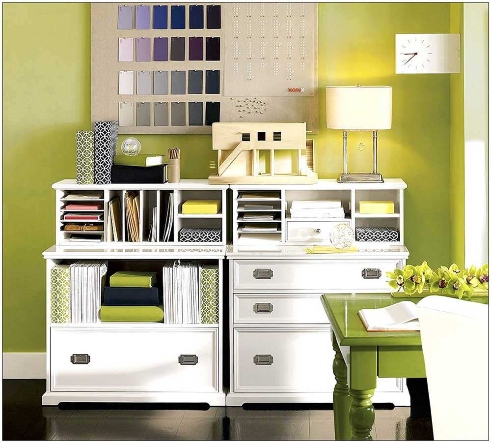White wood home file cabinet in closet design