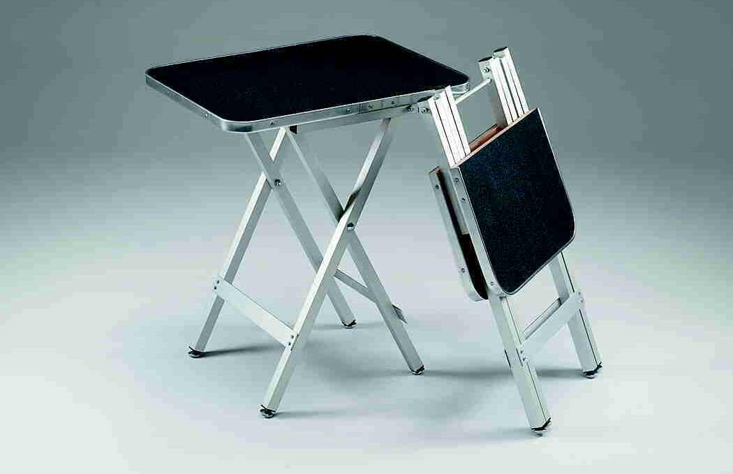 black ringside folding portable table in metal frame