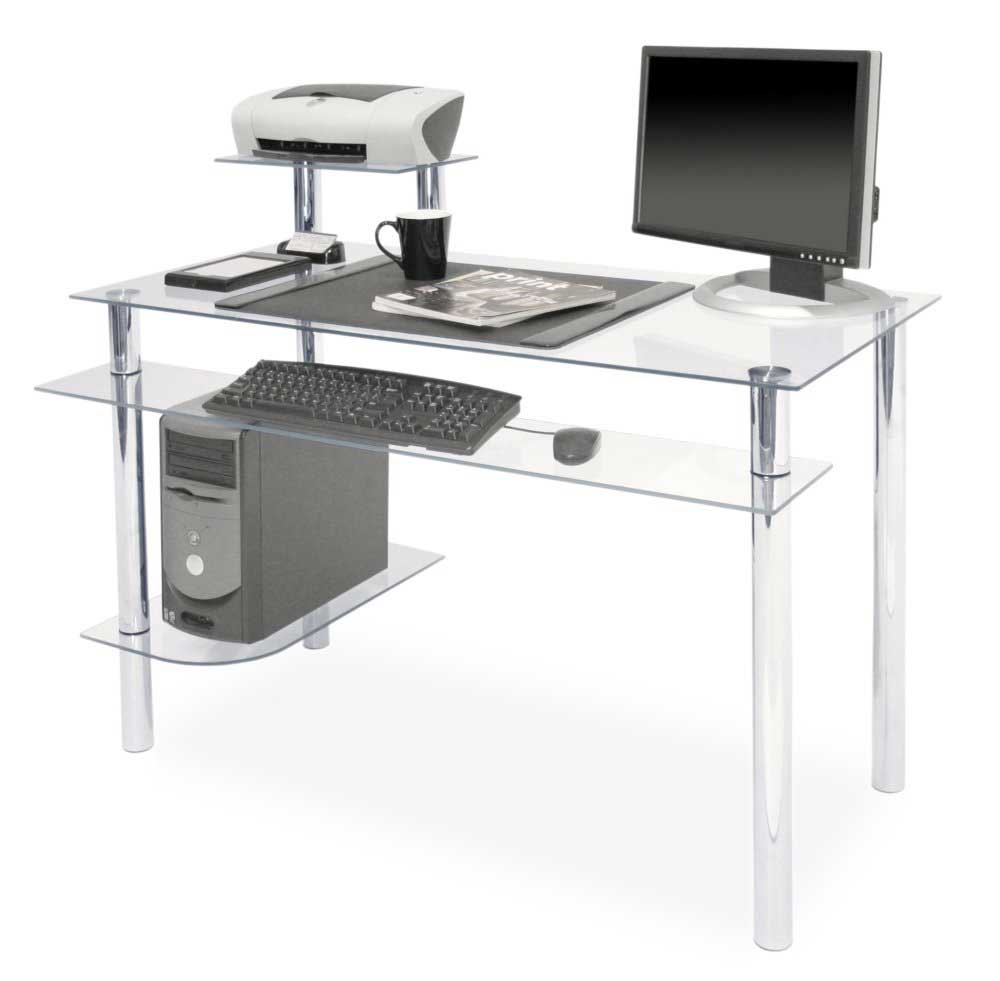 clear glass desks for computers