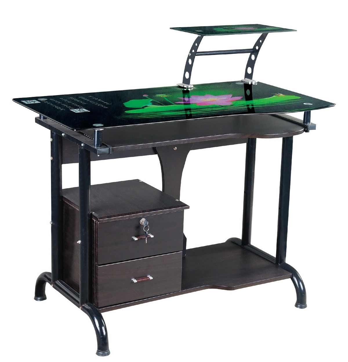 glass top space saver desks in metal and wood mix