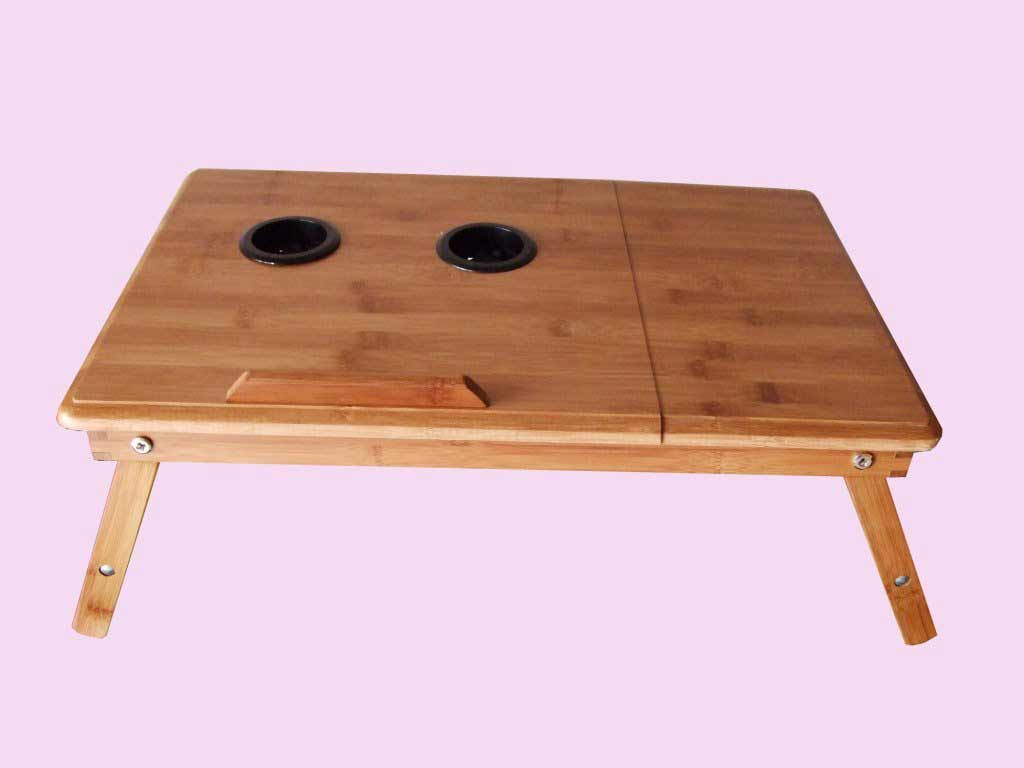 portable wooden lap desk with double fan