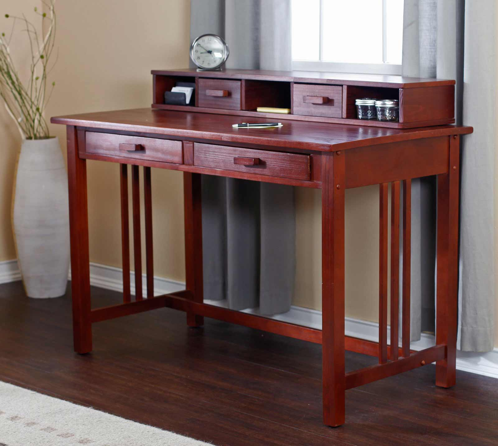 walnut laptop writing desk in mission style