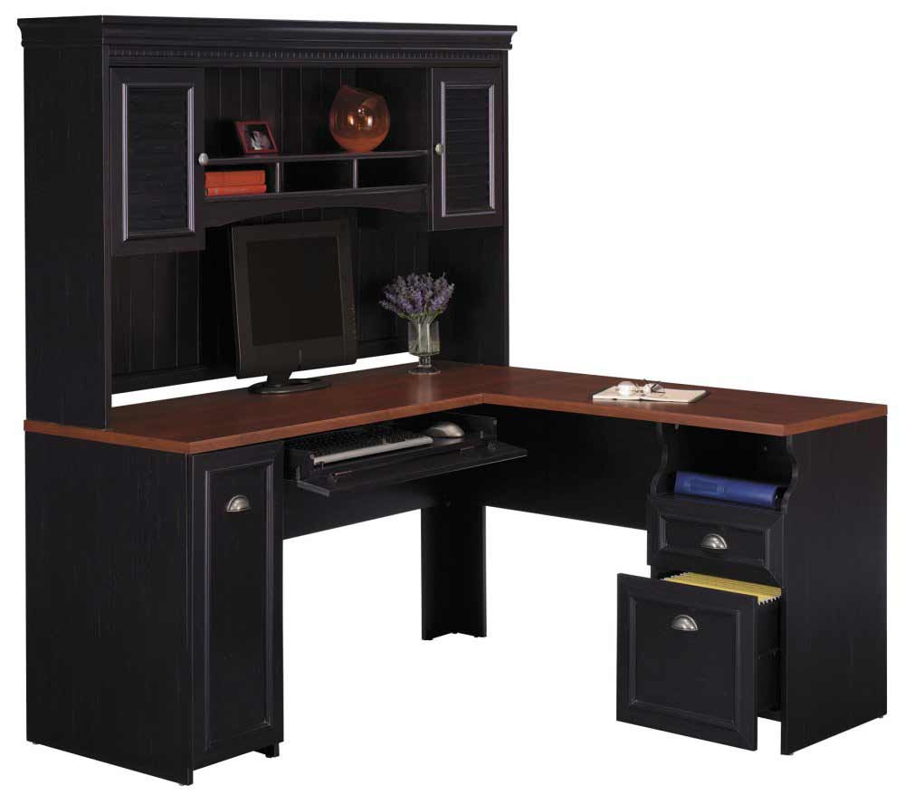 Bush Fairview black cheap office desks with hutch