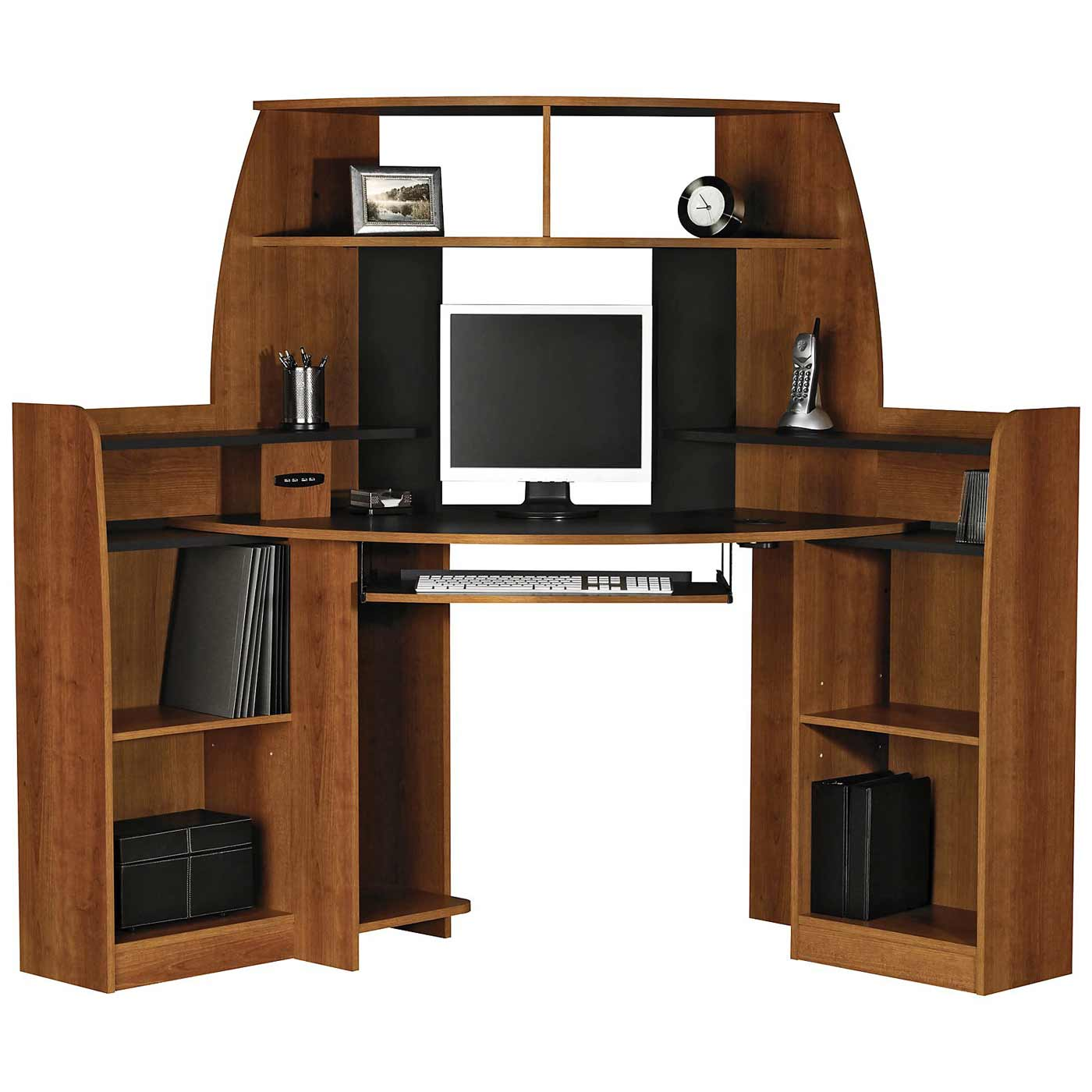 Corner Personal Computer Desk with Double Hutch