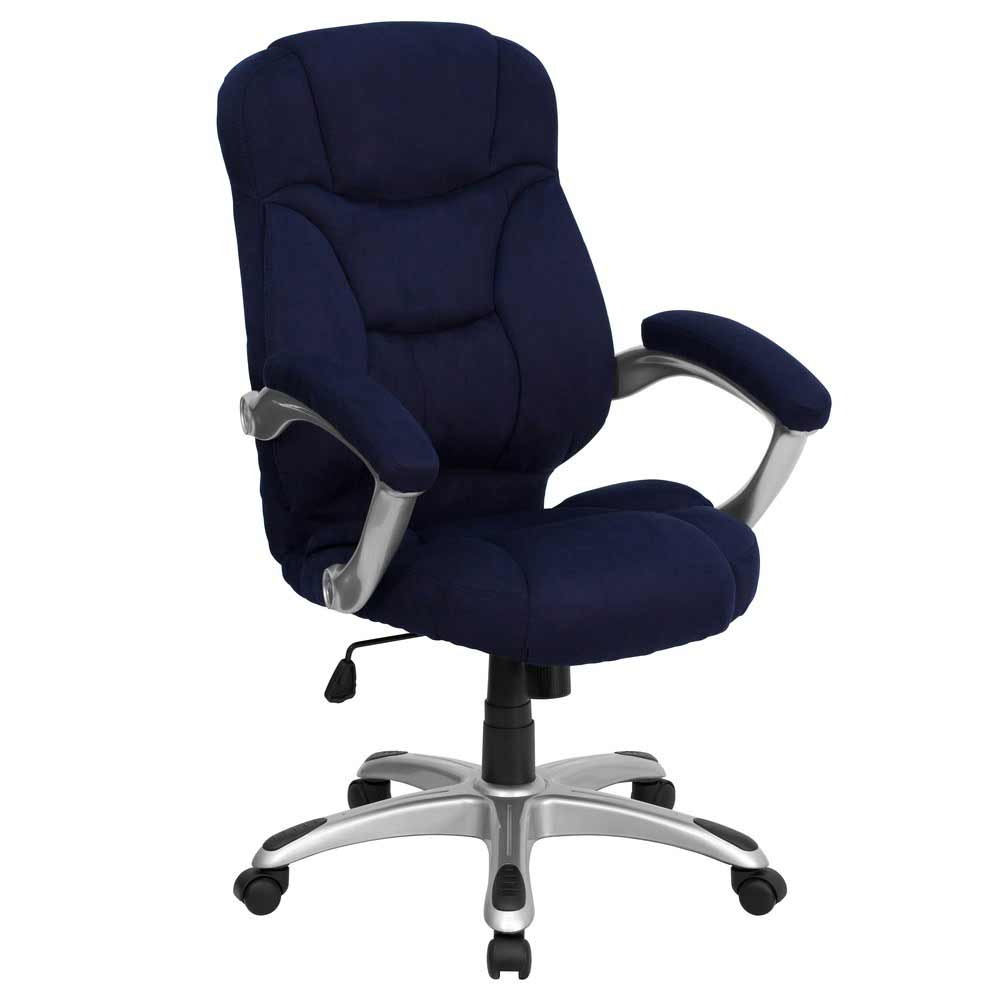 High back microfiber blue office chair