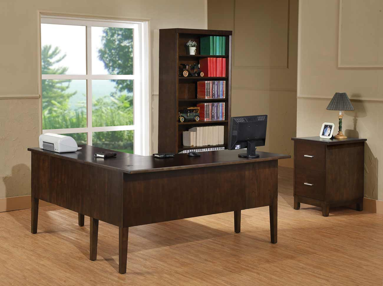 Koncept Chocolate L Shaped Table