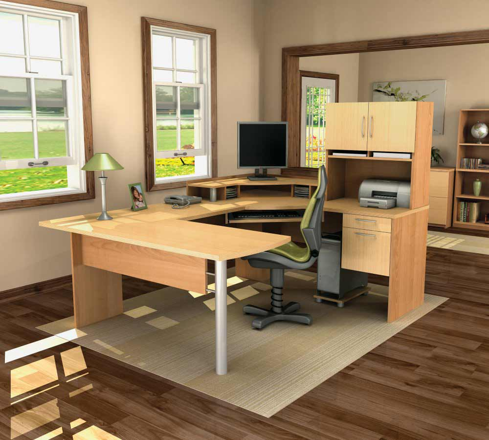 Maple Honey U-Shaped Computer Desk Design