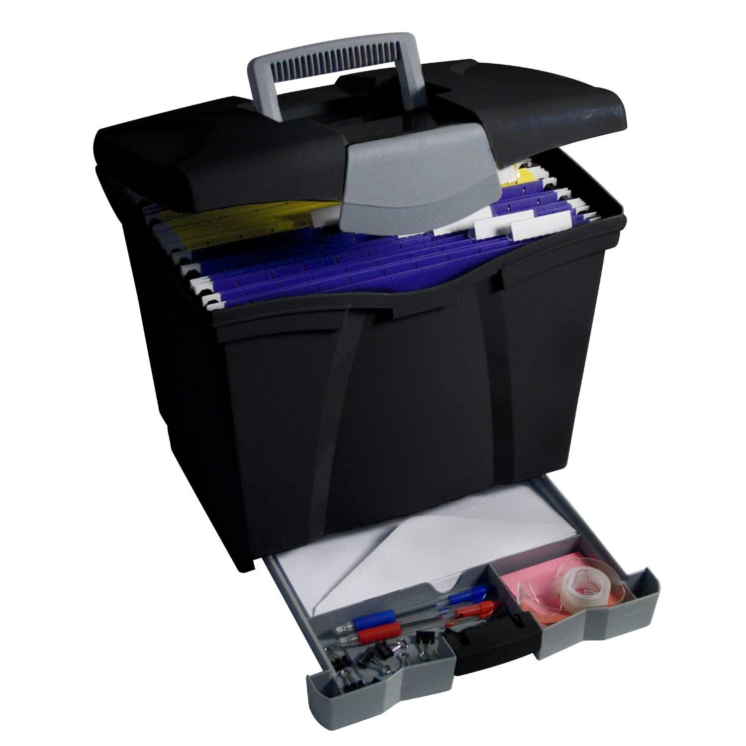 Rolling File Box with Single Bottom Drawer