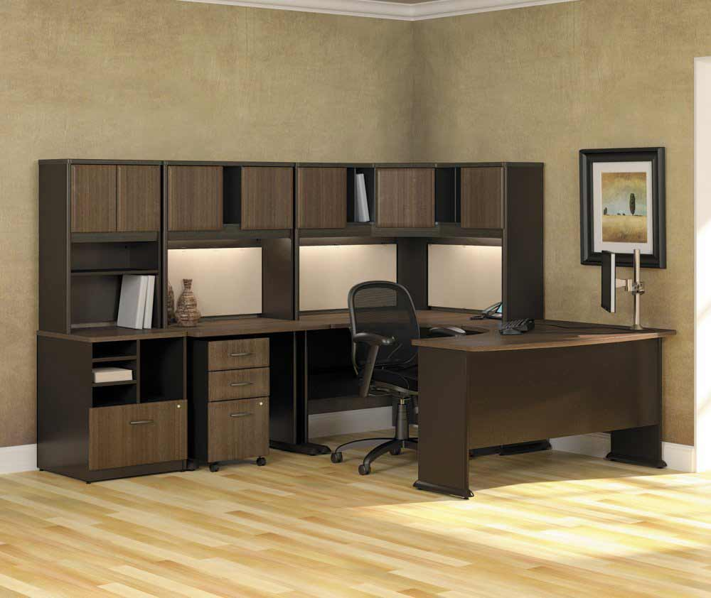 Stylish home office workstation with hutch