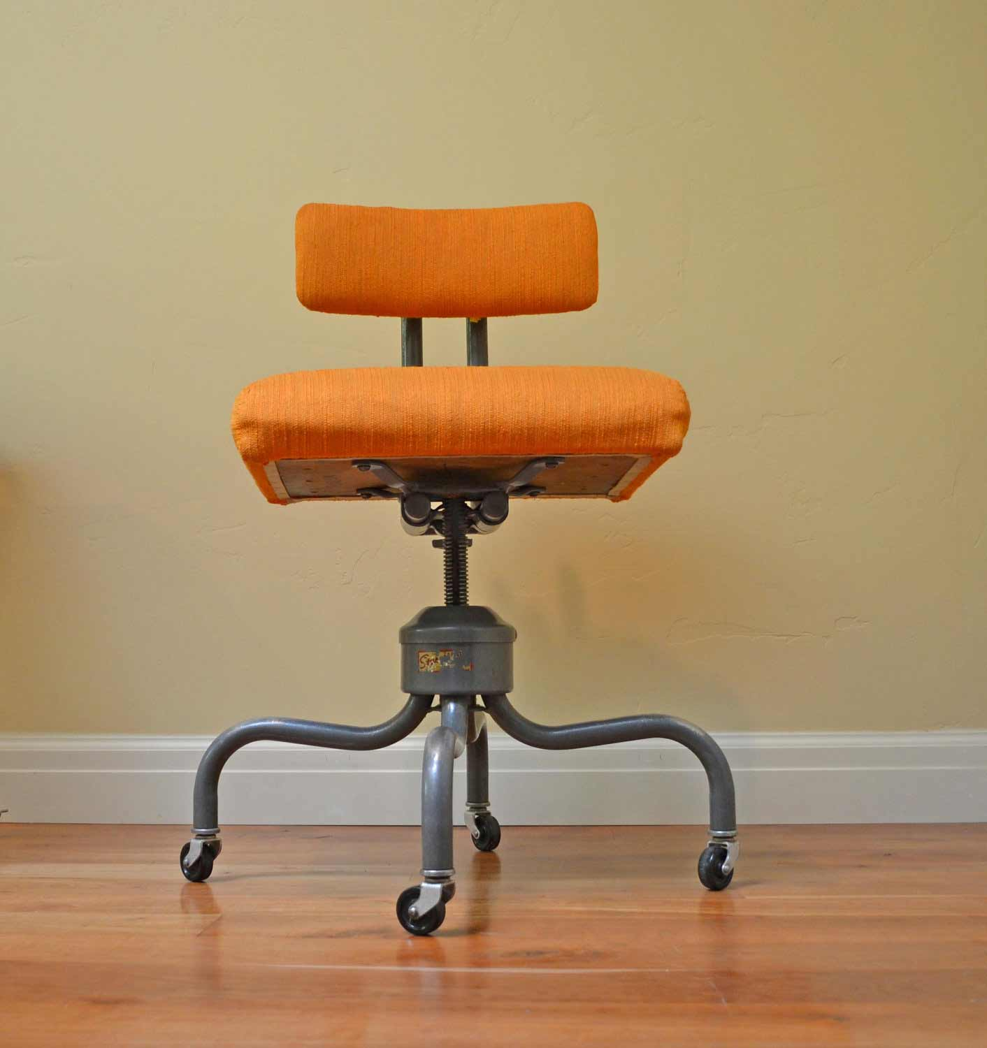 Vintage Orange Swivel Office Chair
