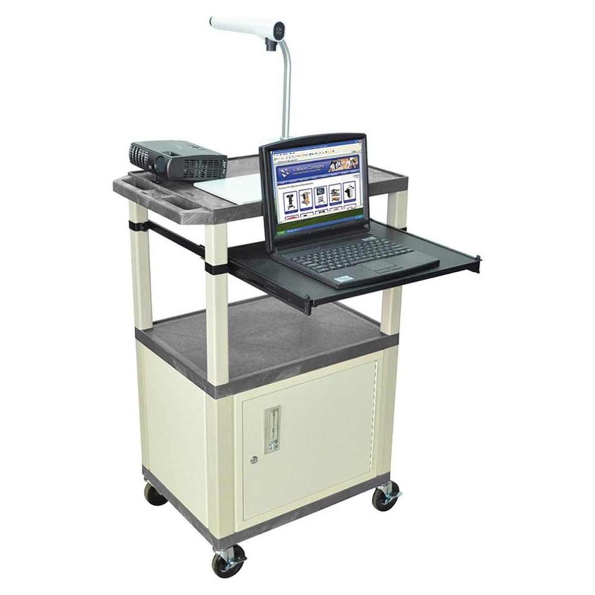 White Balt presentation cart with monitor mount