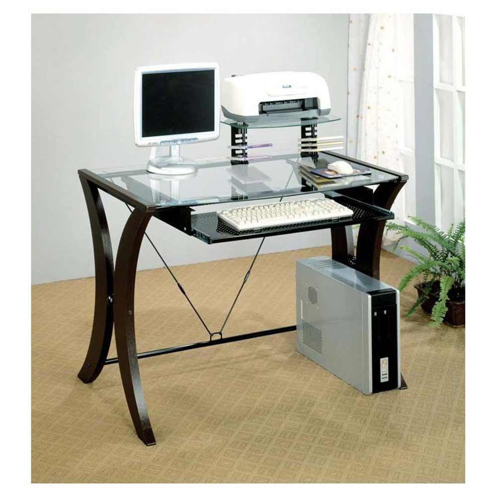 glass top home office workstation