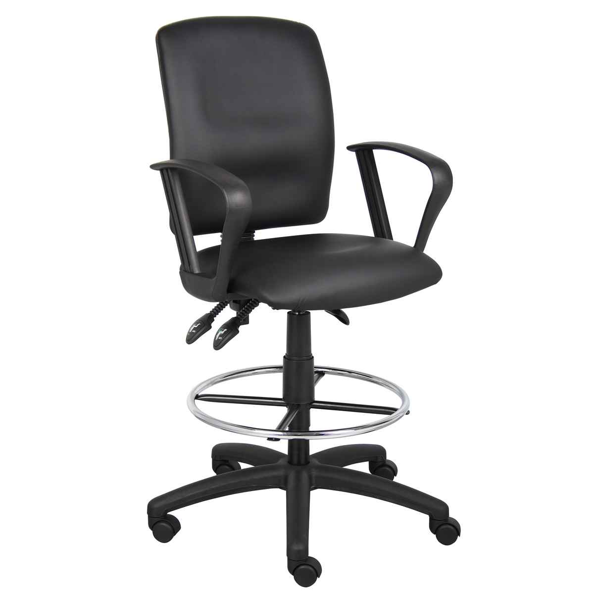 Boss Fixed Arms Leather Drafting Chair