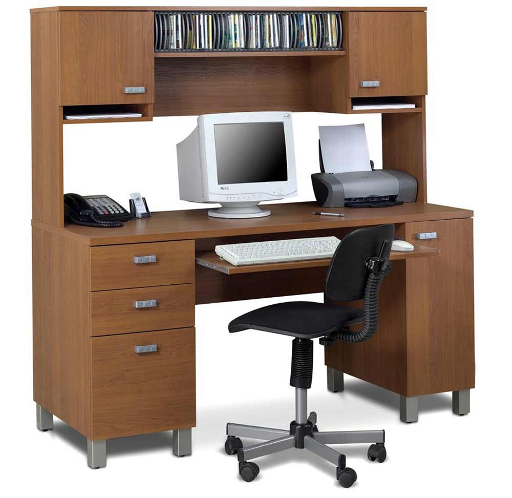 Cappuccino Finish Office Computer Desk with Hutch