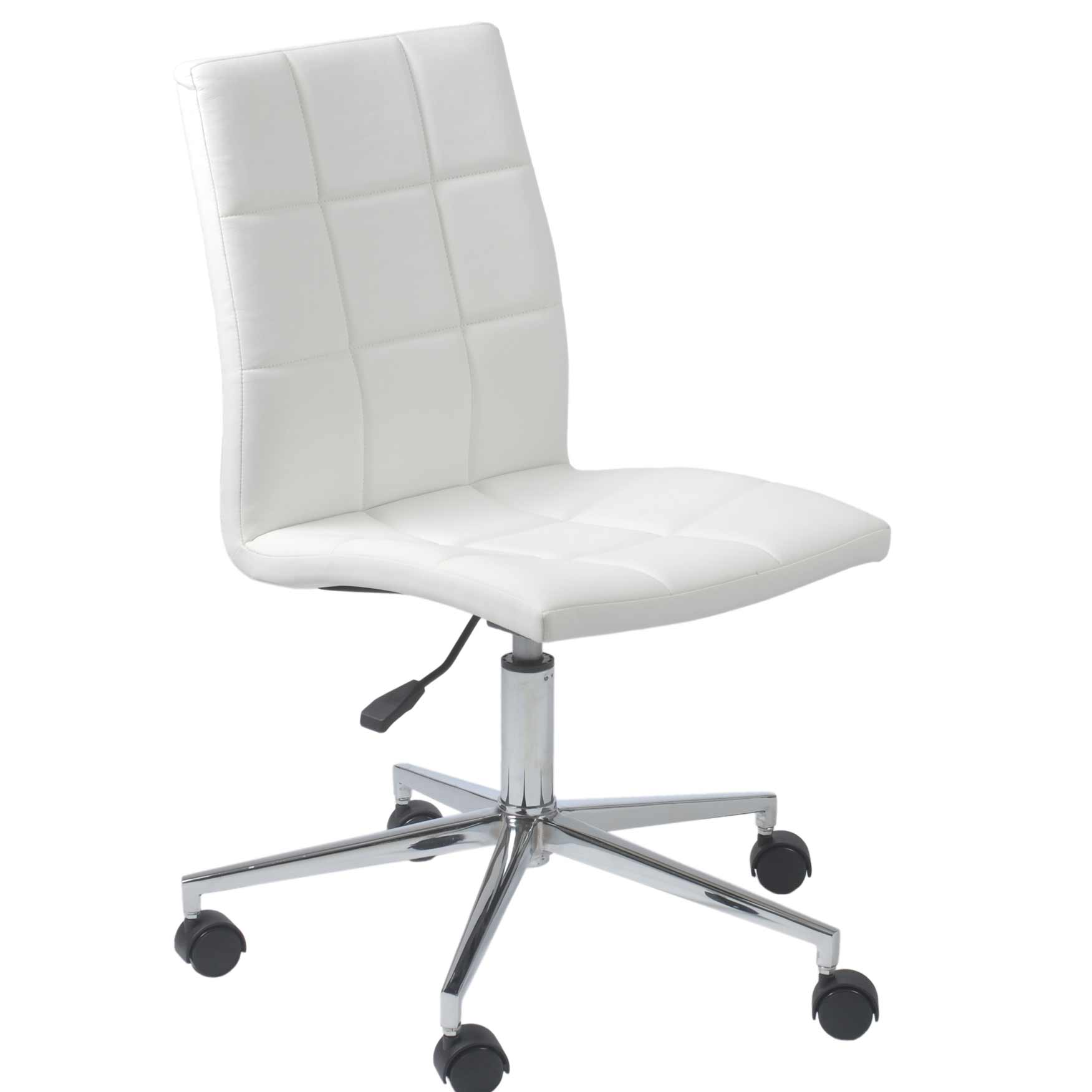 Cyd White Leather Modern Armless Office Task Chair