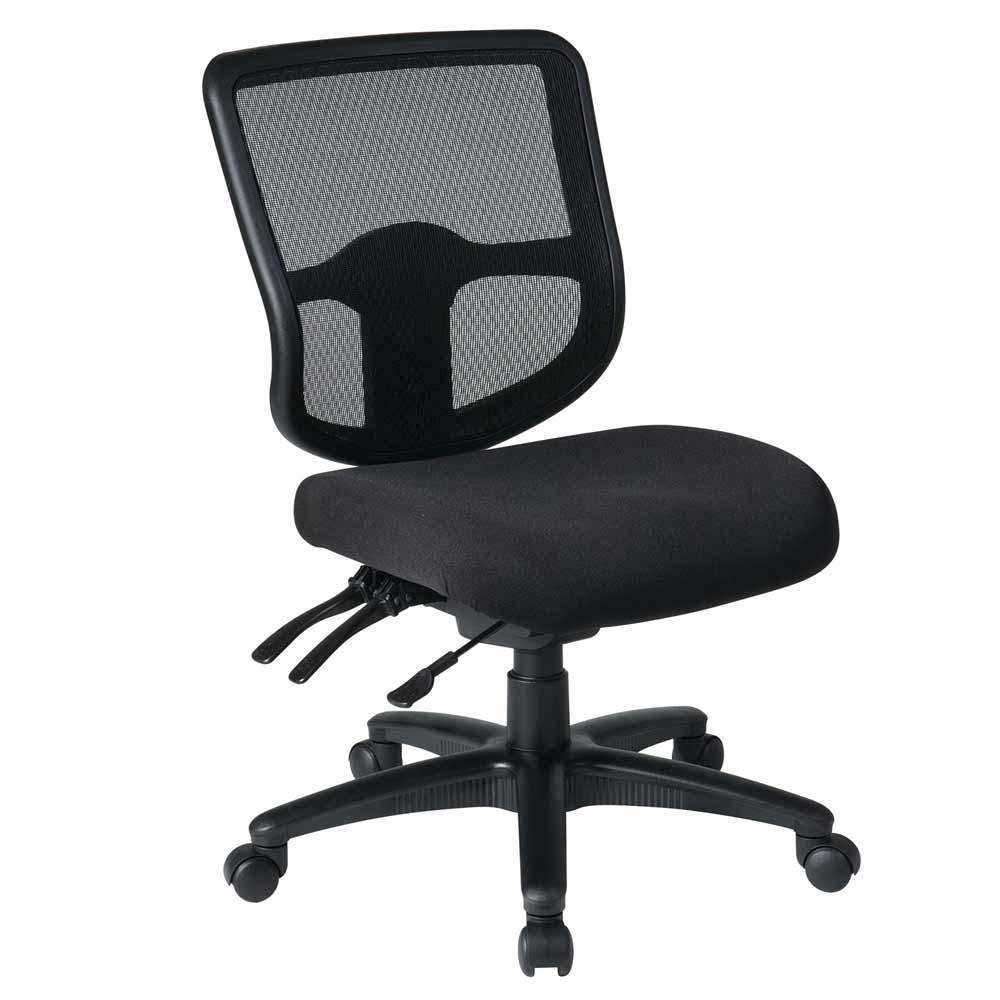 Ergonomic Black Fabric Armless Task Chairs